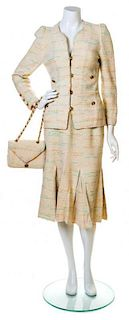 An Adolfo Cream Boucle Skirt Ensemble, No size. Handbag: 8'' x 6''; Strap drop: 10''.