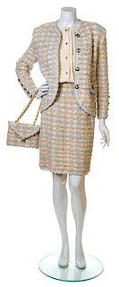 An Adolfo Baby Blue and Pink Boucle Skirt Ensemble, No size. Handbag: 8.25'' x 6.25''; Strap drop: 10''.