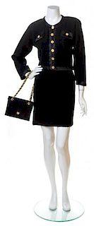 An Adolfo Black Knit Skirt Ensemble, No size. Handbag: 8'' x 6.5''; Strap drop: 10''.