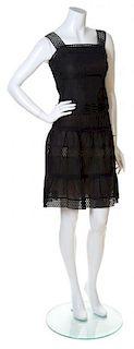 An Akris Punto Black Cotton Pleated Skirt Ensemble, Size 4.
