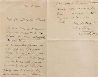 "RODIN, Auguste (1840-1917). Autographed letter signed (""Aug. Rodin""), in French, to Monsieur Church, [Paris], 21 July 1909."
