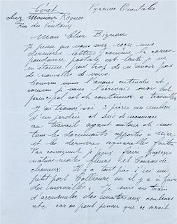 """* DUFY, Raoul (1877-1953). Autograph letter signed (""""Raoul Dufy""""), in French, to Mrs. Bignou. Ceret, [May 1940]."""