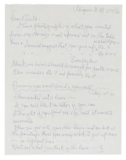 """* O'KEEFFE, Georgia. Autographed letter twice signed (""""G"""" both times), to Anita [Young, her sister], Abiquiu, New Mexico, 14"""