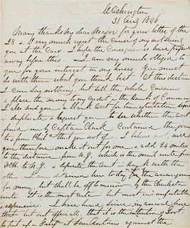 """* LEE, Robert E. (1807-1870). Autographed letter signed (""""R E Lee""""), to an unnamed recipient (""""My dear Major""""), 31 August 184"""