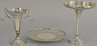 Three piece sterling silver lot including a compote (ht. 9in.), vase (ht. 7 1/2in.), and plate (dia. 9 1/2 in.). 25.6 total t