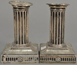"""Pair of Elkington & Co. weighted sterling silver candlesticks, marked """"From the Junior Subaltern to the Adjutant"""". ht. 5in."""