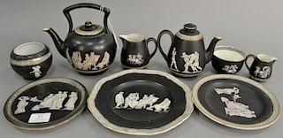 Nine piece Fenton and Pratt Old Greek tea set group to include teapot (ht