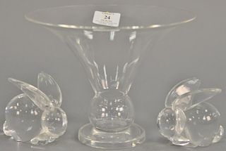 Three piece Steuben lot including compote (ht. 7 in., dia. 8 3/4 in.) and two rabbits (ht. 3 1/2 in.).  Provenance: From the