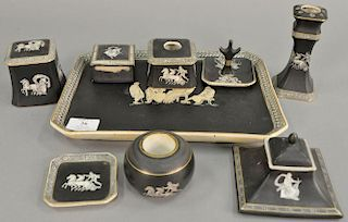 """Nine piece Fenton and Pratt old Greek dresser set to include tray (8 1/2"""" x 11 1/2"""") hairpin holder, inkwell, ring holder, tw"""