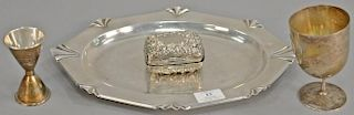 Four piece sterling silver lot including small tray, soap dish (lg. 14in.), stem, and shot measure. 26.8 troy ounces   Proven