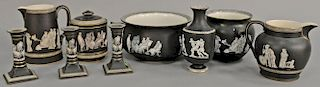 Nine piece Fenton and Pratt Old Greek group to include waste pot, two pitchers, two vases, large covered jar, and three candl