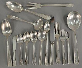 S. Kirk sterling silver flatware set, to include 12 bread knives, 11 luncheon forks, 11 dinner forks, 12 soups, 11 fish forks
