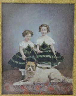 """Victorian watercolor of two young girls with a dog, unsigned, 12"""" x 10""""."""