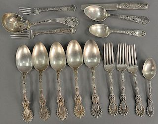 Sterling silver flatware group including Tiffany, Schiebler, and Gorham. 27 troy ounces