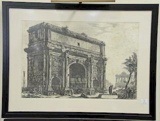 """Giovanni B. Piranese, etching, Veduta dell'Arco di Settimio Severo from Vedute di Roma, plate size 18 3/4"""" x 28 1/4"""""""