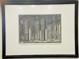 """Giovanni Battista Piranese, etching, """"Veduta del Pronao de Panteon"""", from Vedute di Roma, sight size15 1/4"""" x 21 1/4"""""""