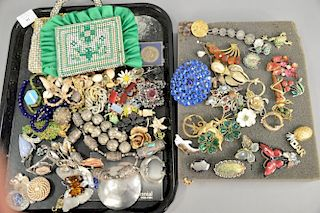 Lot of costume and silver jewelry including American Southwest silver necklace with turquoise, pins on tray, plus three rhine