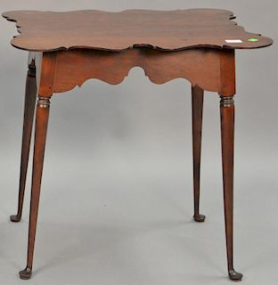 """Custom cherry Queen Anne style tea table with shaped porringer top, pencil signed under top. ht. 27 in., top: 21 1/2"""" x 27"""""""