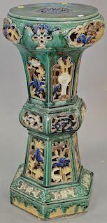 Chinese earthenware pedestal. ht. 30in.  Provenance: From the Estate of Faith K. Tiberio of Sherborn, Massachusetts