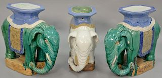 Three elephant garden seats. ht. 22 in., lg. 25 in.   Provenance: The Estate of Thomas F Hodgman of Fairfield, Connecticut