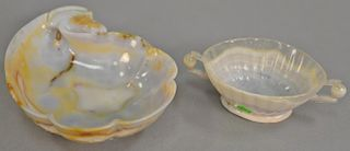 Two Chinese agate bowls, one with carved rams head (lg. 6 1/2in.) and the other scallop oval form with handles (lg. 8in.).