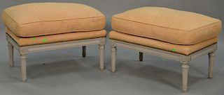 """Pair of Louis XVI style ottomons with custom upholstered cushions. ht. 17 in., top: 17"""" x 26""""   Provenance: The Estate of Tho"""