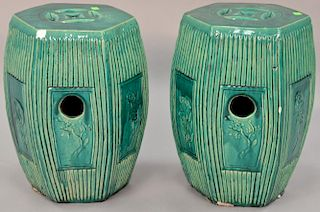Pair of Chinese green glazed garden seats. ht. 18 1/2 in.   Provenance: The Estate of Thomas F Hodgman of Fairfield, Connecti