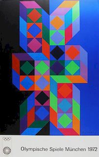 Victor Vasarely Olympische Spiele München 1972 Lithograph Class 2