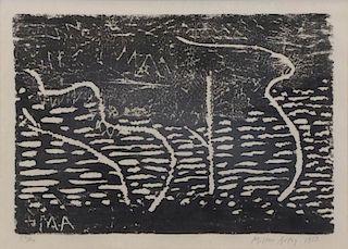 "AVERY, Milton. Woodcut ""Trees By The Sea"" 1953."