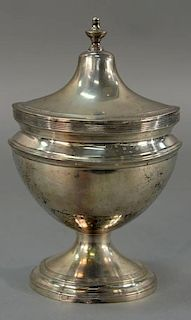 Silver sugar bowl with cover, late 18th to early 19th century.  height 8 1/4 inches  17.5 troy ounces