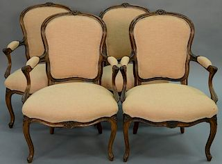 Set of four Louis XV style fauteuils, probably 19th century.   height 36 inches   Provenance: The Estate of Thomas F Hodgman.