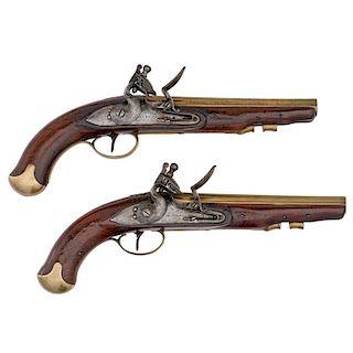 Pair of Flintlock Pistols by D. Egg