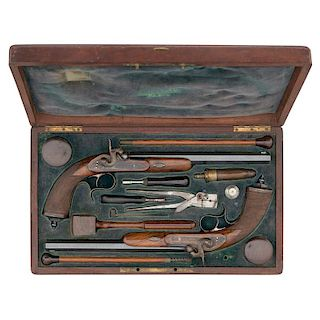 Case Pair Of Percussion Pistols By Galand