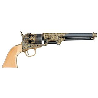 Contemporary Engraved Gold Inlaid Colt 1851 Navy Percussion Revolver