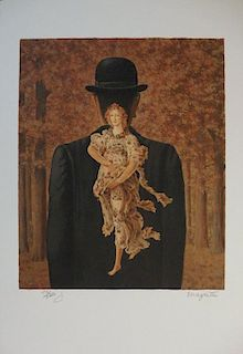 The Ready-made bouquet, Lithograph - Rene Magritte