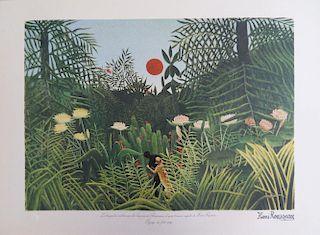 Rainforest landscape, signed lithograph, 1976 - Henri Rousseau