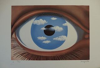 The Fake Mirror, signed lithograph - Rene Magritte