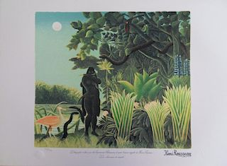 Snake Charmer, signed lithograph #1976 - Henri Rousseau