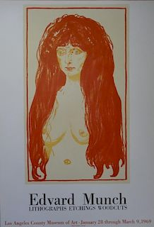 Red-headed woman, original lithographic poster, 1969 - Edvard Munch