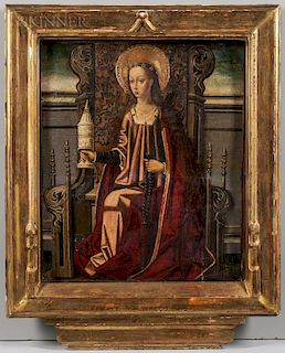 Spanish School-Aragonese, 15th Century  Mary Magdalene Enthroned, Holding an Unguent Jar and Rosary
