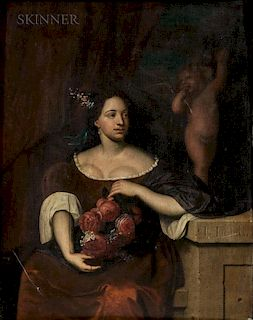 Johannes (Jan) Tielius (French, 1653-1719)  Seated Woman with a Bouquet of Roses, A Figure of Cupid Behind Her