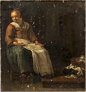 School of Thomas Wijck (Dutch, 1616-1677)  Young Woman in an Interior