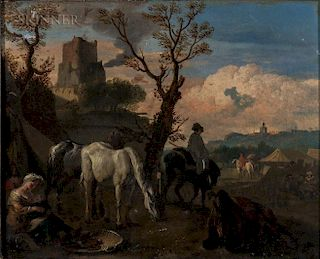 Attributed to Johannes van der Bent (Dutch, 1650-1690)  Military Encampment with Foreground Figures at Rest