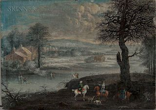 Dutch School, 18th Century  Winter Scene with Foreground Hunters and Figures Playing on the Ice