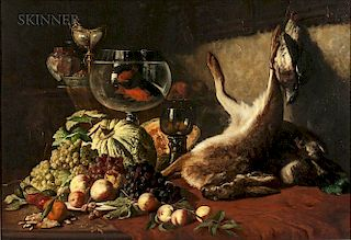 Lucas Victor Schaefels (Belgian, 1824-1885)  Still Life with Fruit, Goldfish, and Hare