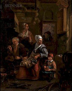 Flemish School, 17th Century  A Caller at the Door