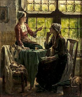 Edward Antoon Portielje (Belgian, 1861-1949)  A Pause in the Afternoon's Sewing