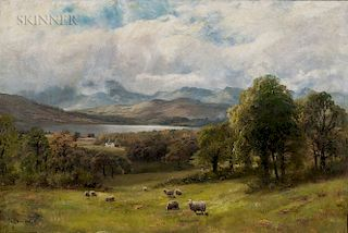 James Henry Crossland (British, 1852-1939)  Valley Landscape with Sheep at Pasture