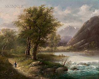 Mikhail Konstantinovich Klodt von Jurgensburg (Russian, 1832/33-1902)  Zirknitzer See, Kärnthen