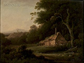 John Rathbone (British, 1750-1807)  Cottage at the Forest's Edge with Distant Windmill
